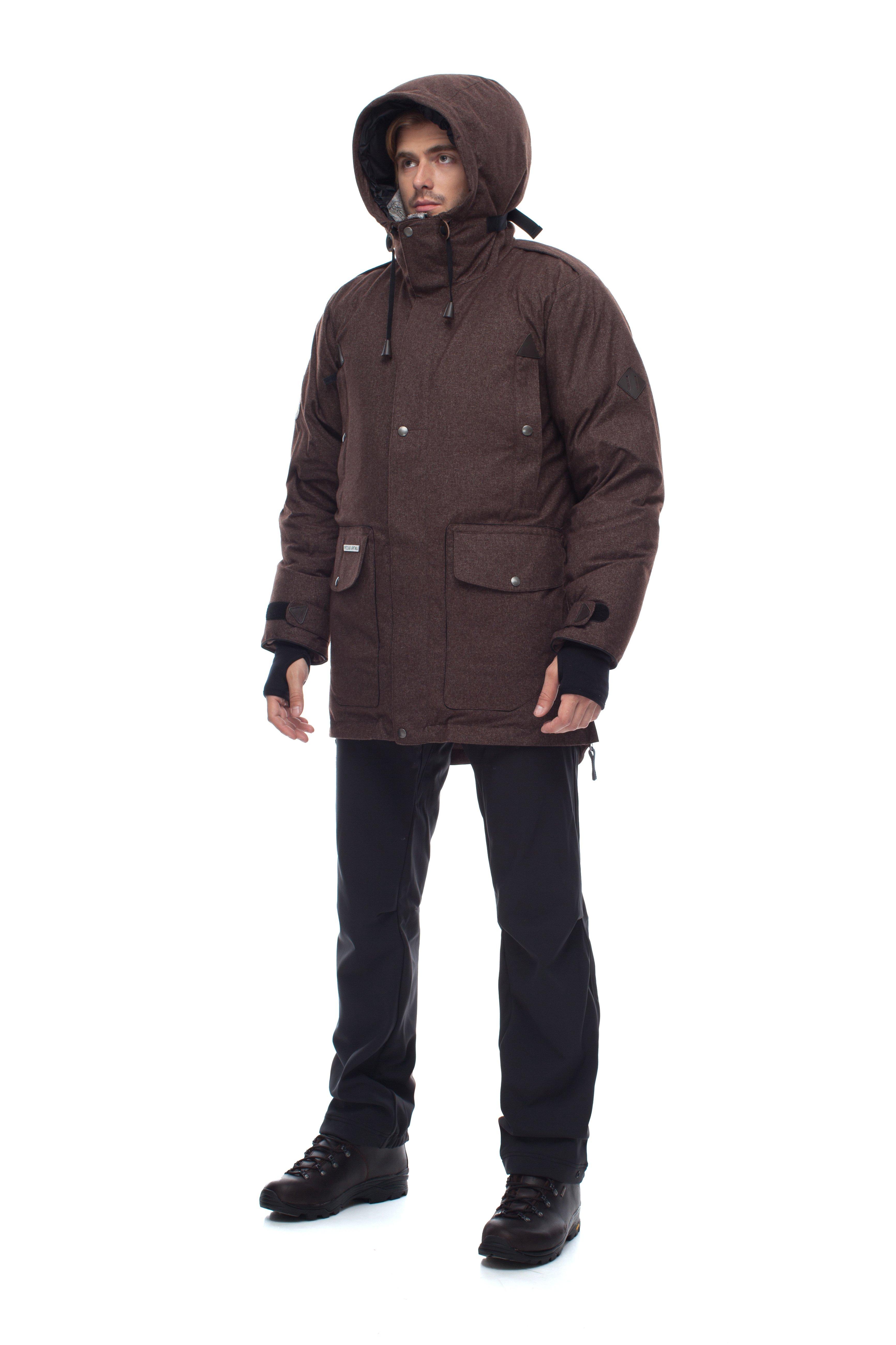 Пуховая куртка BASK PUTORANA SOFT 3774aМужская зимняя пуховая куртка-парка PUTORANA SOFT c мембранной тканью и температурным режимом -35 &amp;deg;С.<br><br>Верхняя ткань: Advance® Alaska Soft Melange<br>Вес граммы: 1920<br>Вес утеплителя: 400<br>Ветро-влагозащитные свойства верхней ткани: Да<br>Ветрозащитная планка: Да<br>Ветрозащитная юбка: Нет<br>Влагозащитные молнии: Нет<br>Внутренние манжеты: Да<br>Внутренняя ткань: Advance® Classic<br>Водонепроницаемость: 10000<br>Дублирующий центральную молнию клапан: Да<br>Защитный козырёк капюшона: Нет<br>Капюшон: Несъемный<br>Карман для средств связи: Нет<br>Количество внешних карманов: 8<br>Количество внутренних карманов: 2<br>Мембрана: да<br>Объемный крой локтевой зоны: Нет<br>Отстёгивающиеся рукава: Нет<br>Паропроницаемость: 5000<br>Показатель Fill Power (для пуховых изделий): 650<br>Пол: Муж.<br>Проклейка швов: Нет<br>Регулировка манжетов рукавов: Да<br>Регулировка низа: Нет<br>Регулировка объёма капюшона: Да<br>Регулировка талии: Да<br>Регулируемые вентиляционные отверстия: Нет<br>Световозвращающая лента: Нет<br>Температурный режим: -35<br>Технология Thermal Welding: Нет<br>Технология швов: простые<br>Тип молнии: двухзамковая<br>Ткань усиления: нет<br>Усиление контактных зон: Нет<br>Утеплитель: гусиный пух<br>Размер RU: 48<br>Цвет: ЧЕРНЫЙ