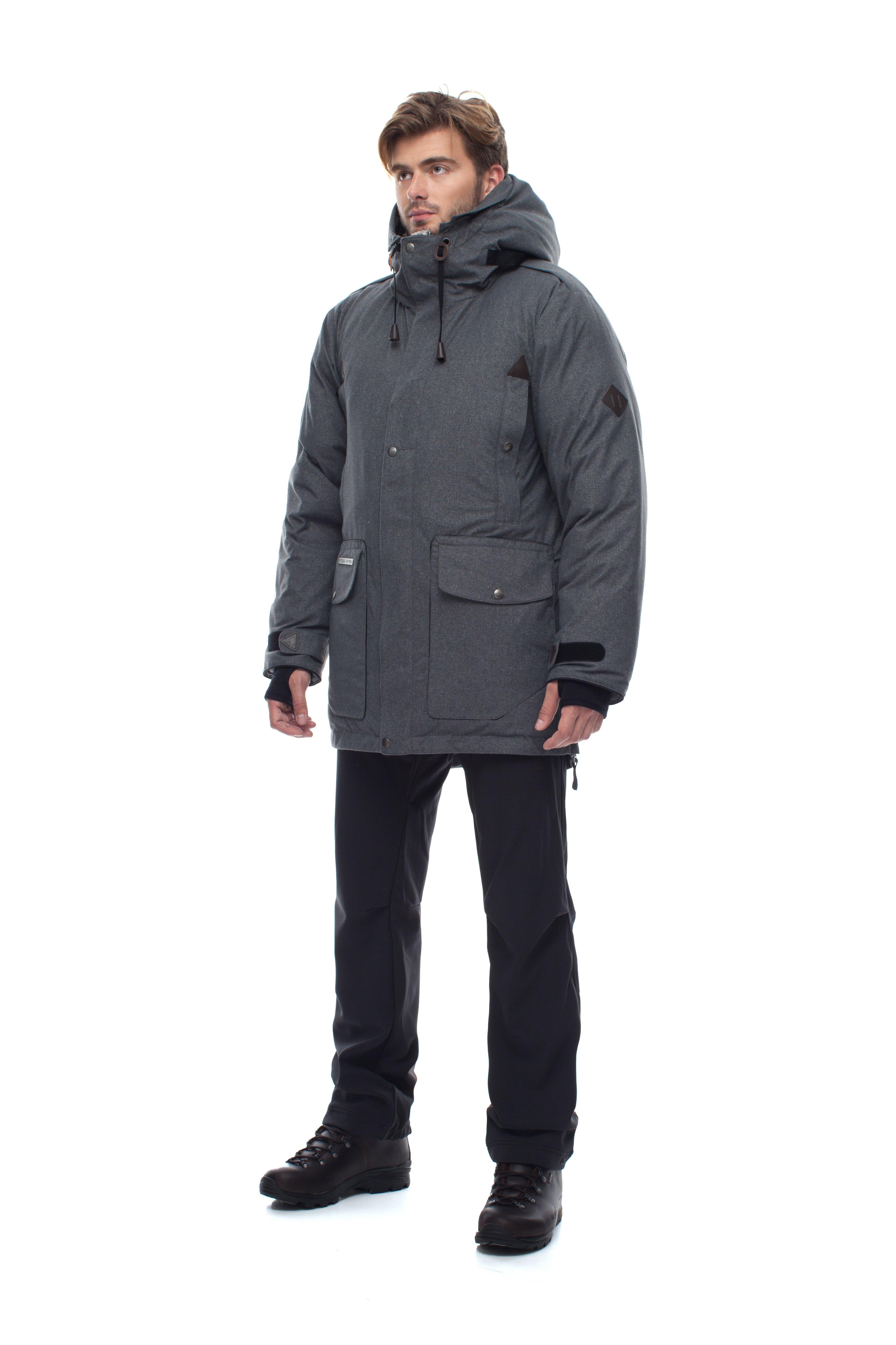 Пуховая куртка BASK PUTORANA SOFT 3774aМужская зимняя пуховая куртка-парка PUTORANA SOFT c мембранной тканью и температурным режимом -35 &amp;deg;С.<br><br>Верхняя ткань: Advance® Alaska Soft Melange<br>Вес граммы: 1920<br>Вес утеплителя: 400<br>Ветро-влагозащитные свойства верхней ткани: Да<br>Ветрозащитная планка: Да<br>Ветрозащитная юбка: Нет<br>Влагозащитные молнии: Нет<br>Внутренние манжеты: Да<br>Внутренняя ткань: Advance® Classic<br>Водонепроницаемость: 10000<br>Дублирующий центральную молнию клапан: Да<br>Защитный козырёк капюшона: Нет<br>Капюшон: несъемный<br>Карман для средств связи: Нет<br>Количество внешних карманов: 8<br>Количество внутренних карманов: 2<br>Мембрана: да<br>Объемный крой локтевой зоны: Нет<br>Отстёгивающиеся рукава: Нет<br>Паропроницаемость: 5000<br>Показатель Fill Power (для пуховых изделий): 650<br>Пол: Муж.<br>Проклейка швов: Нет<br>Регулировка манжетов рукавов: Да<br>Регулировка низа: Нет<br>Регулировка объёма капюшона: Да<br>Регулировка талии: Да<br>Регулируемые вентиляционные отверстия: Нет<br>Световозвращающая лента: Нет<br>Температурный режим: -35<br>Технология Thermal Welding: Нет<br>Технология швов: простые<br>Тип молнии: двухзамковая<br>Ткань усиления: нет<br>Усиление контактных зон: Нет<br>Утеплитель: гусиный пух<br>Размер RU: 60<br>Цвет: ЧЕРНЫЙ