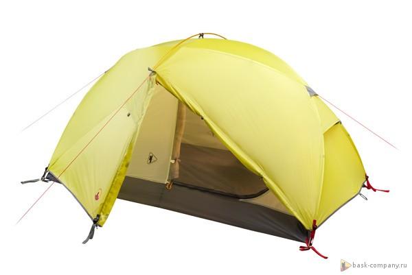 Палатка BASK SHARK FIN 3512Палатка 2 х местная трехсезонная для любителей горного и пешего туризма. Отличается высокой ветроустойчивостью.&amp;nbsp;<br><br>Вентиляционные окна: 2<br>Вес (в минимальной комплектации): 2.8<br>Вес (в полной комплектации): 2.9<br>Ветрозащитные юбки: Нет<br>Внутренние карманы и петельки для мелочей: Да<br>Водостойкость дна: 5000<br>Водостойкость тента: 3000<br>Диаметр стоек каркаса: 8.5; 9.5<br>Количество входов: 2<br>Количество мест: 2<br>Количество оттяжек: 4<br>Количество стоек каркаса: 3<br>Материал внешнего тента: 40D Nylon RipStop 240T SI/PU 3 000 мм, W/R<br>Материал внутренней палатки: 40D Nylon Ripstop 240T BR, W/R<br>Материал дна: 70D Nylon Taffeta 210T PU 5 000 мм, W/R<br>Материал каркаса: диаметр 9,5мм, Yunan AL7001-T6<br>Назначение: трекинговая<br>Обработка ткани палатки: Водоотталкивающая пропитка (W/R), дышащая<br>Обработка ткани тента: PU+SI (внутренняя поверхность покрыта полиуретаном, внешняя силиконом)<br>Подвесная полка: Да<br>Проклейка швов: Да<br>Противо москитная сетка: Да<br>Размер в упакованом виде: ?15x40 см<br>Способ установки: сначала устанавливается внутренняя палатка, затем накидывается тент<br>Тип входа: на молнии