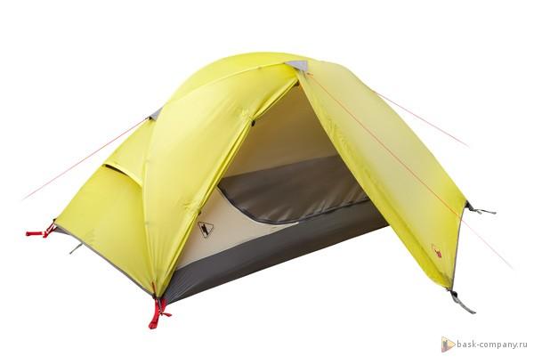 Палатка BASK CLIF 3521Палатка легкая и надежная, наиболее подходит  для пешихпоходов и велотуризма. Благодаря оригинальной конструкции обладает высокой сопротивляемостью ветровым нагрузкам.<br><br>Вентиляционные окна: 2<br>Вес (в минимальной комплектации): 2.3<br>Вес (в полной комплектации): 2.6<br>Ветрозащитные юбки: Нет<br>Внутренние карманы и петельки для мелочей: Да<br>Водостойкость дна: 5000<br>Водостойкость тента: 3000<br>Диаметр стоек каркаса: 8.5<br>Количество входов: 1<br>Количество мест: 2<br>Количество оттяжек: 4<br>Количество стоек каркаса: 2<br>Материал внешнего тента: 75D Poly Taffeta 185T PU 3 000 мм, W/R<br>Материал внутренней палатки: 70D Poly 190T breathable  W/R<br>Материал дна: 70D Nylon Taffeta 210T PU 5 000 мм, W/R<br>Материал каркаса: алюминиевый сплав 7001 T6<br>Назначение: трекинговая<br>Обработка ткани палатки: Водоотталкивающая пропитка (W/R), дышащая<br>Обработка ткани тента: PU (внутренняя поверхность покрыта полиуретаном)<br>Подвесная полка: Нет<br>Проклейка швов: Да<br>Противо москитная сетка: Да<br>Способ установки: сначала устанавливается внутренняя палатка, затем накидывается тент<br>Тип входа: на молнии<br>Цвет: ЗЕЛЕНЫЙ