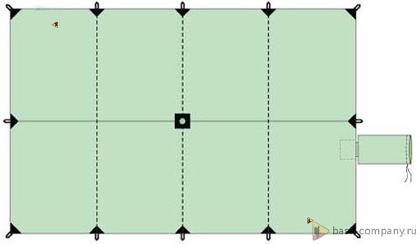 Туристический тент BASK CANOPY V3 3x4.5 3523Туристический тент&amp;nbsp;3х4,5 - укрытие для стоянки. В центре тента имеется карман для стойки, которую можно изготовить из подручных материалов.&amp;nbsp;<br><br>Вес граммы: 1300<br>Водостойкость: 3000<br>Материал: 75D Poly Taffeta 185T PU 3000 mm W/R<br>Наличие стакана под центральную стойку: Да<br>Оттяжки в комплекте: Да<br>Светоотражающие оттяжки: Да