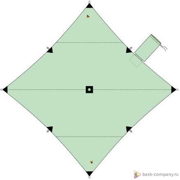 Туристический тент BASK CANOPY V3 4x4 3608Тенты<br>Туристический тент4х4 – укрытие для стоянки. Коньковый шов расположен по диагонали. В центре тента имеется карман для стойки, которую можно изготовить из подручных материалов.<br><br>Вес граммы: 1470<br>Водостойкость: 3000<br>Материал: 75D Poly Taffeta 185T PU 3000 mm W/R<br>Наличие стакана под центральную стойку: Да<br>Оттяжки в комплекте: Да<br>Размеры: 400х400<br>Светоотражающие оттяжки: Да