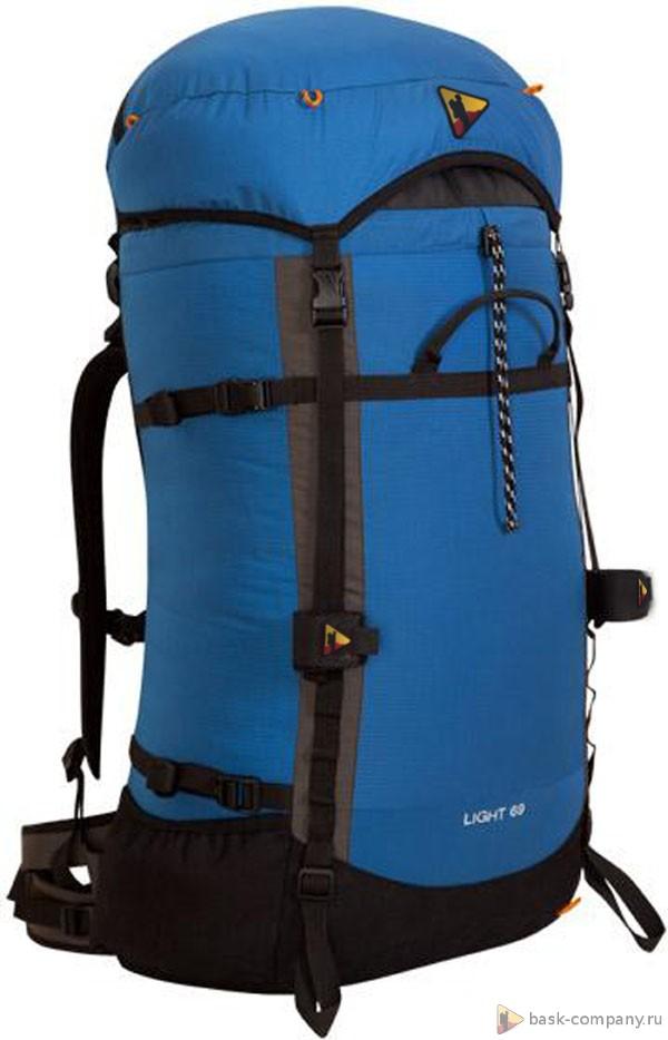 Рюкзак BASK LIGHT 69 3686Туристический рюкзак объемом 69 литров Bask Light 69 - из серии LIGHT, подойдет для альпинизма с практичной навеской для дополнительного снаряжения.<br><br>Анатомическая конструкция спины и ремней: Да<br>Вентиляция спины: Да<br>Вес граммы: 1060<br>Внутренние карманы: Да<br>Внутренняя перегородка: Нет<br>Возможность крепления сноуборда/скейтборда/лыж: Нет<br>Грудной фиксатор: Да<br>Карман для гидратора: Нет<br>Карман для средств связи: Нет<br>Карманы на поясе: Нет<br>Клапан: съемный<br>Минимальный вес: 0.92<br>Назначение: трекинговый<br>Накидка от дождя: Нет<br>Наружная навеска: навесная система позволяет крепить специальное снаряжение<br>Наружные карманы: Нет<br>Нижний вход: Нет<br>Объем л.: 69<br>Регулировка объема: Да<br>Регулировка угла наклона пояса: Нет<br>Светоотражающий кант: Нет<br>Система подвески: система подвески регулируется<br>Ткань: 210D Robic® Triple Rip<br>Усиление: Cordura® 1000<br>Усиление дна: Да<br>Фурнитура: Duraflex®, YKK®
