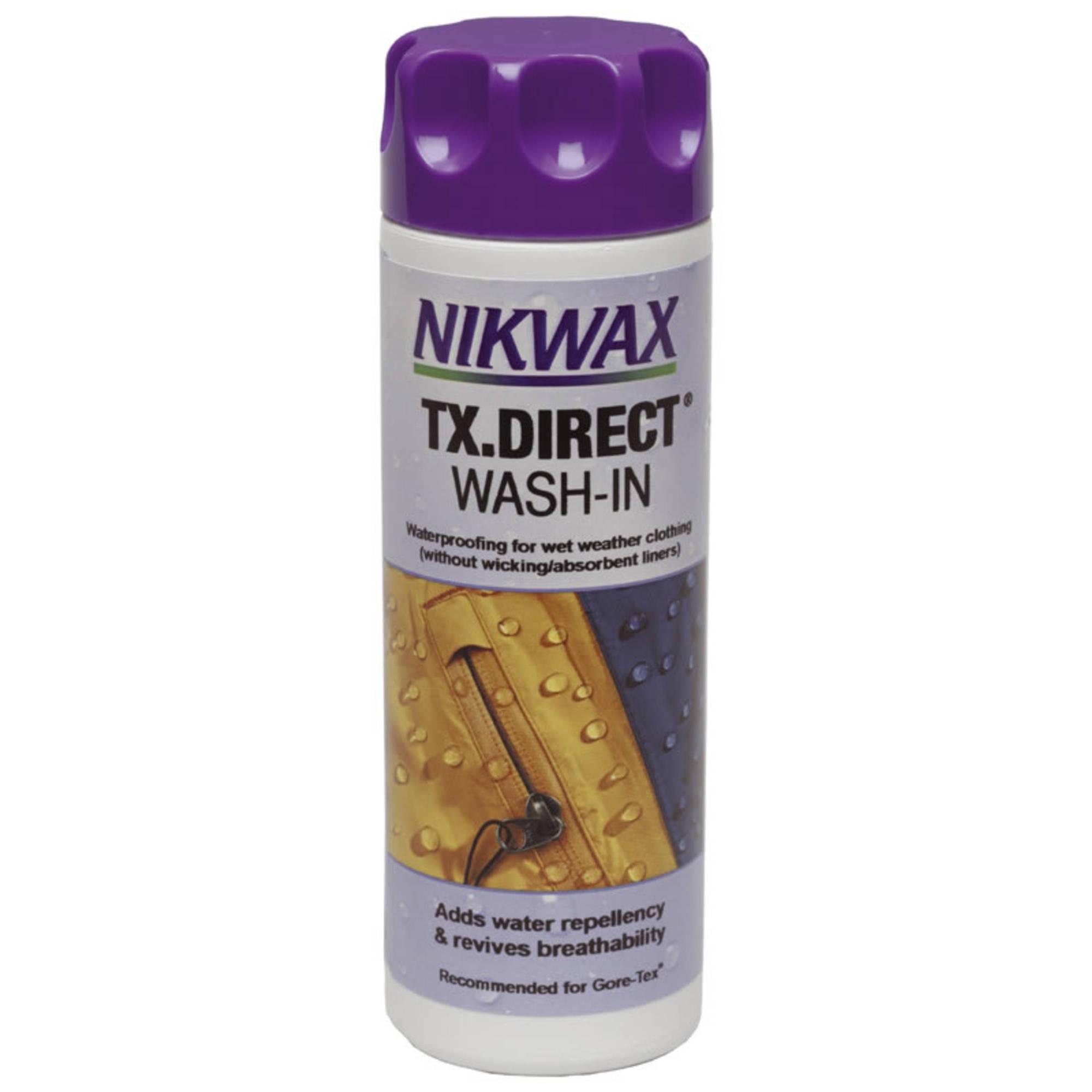 Пропитка для мембранных тканей Nikwax TX.Direct Wash-In 300 ml N25100Nikwax&amp;reg; TX.Direct&amp;reg; Wash-in - водоотталкивающая пропитка для мембранных тканей и дышащих нейлоновых материалов , для придания водоотталкивающих свойств одежде и снаряжению.<br><br>Вид: Пропитка<br>Назначение: Синтетические материалы<br>Объем мл: 300<br>Тип: Для одежды