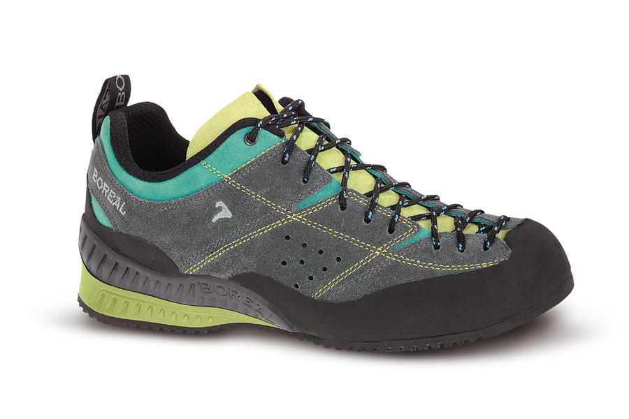Кроссовки Boreal FLYERS LADY B32096Обувь<br>Надежные кроссовки для подходов под скальные маршруты, несложного лазания, прогулок по пересеченной местности, повседневного использования в городе.<br><br>Вес пары размера 7 UK: 840<br>Материал верха: Кожа 2мм, ткань Theramida<br>Мембрана: Нет<br>Подошва: Boreal Approach<br>Пол: Женские<br>Промежуточная подошва: Boreal PXF<br>Режим эксплуатации: Подходы к маршрутам, простое лазание, трейл, город<br>Система виброгашения: Да<br>Система отвода влаги: Нет<br>Утеплитель: Нет<br>Цельнокроеный верх: Нет<br>Размер RU: 38<br>Цвет: НЕИЗВЕСТНЫЙ