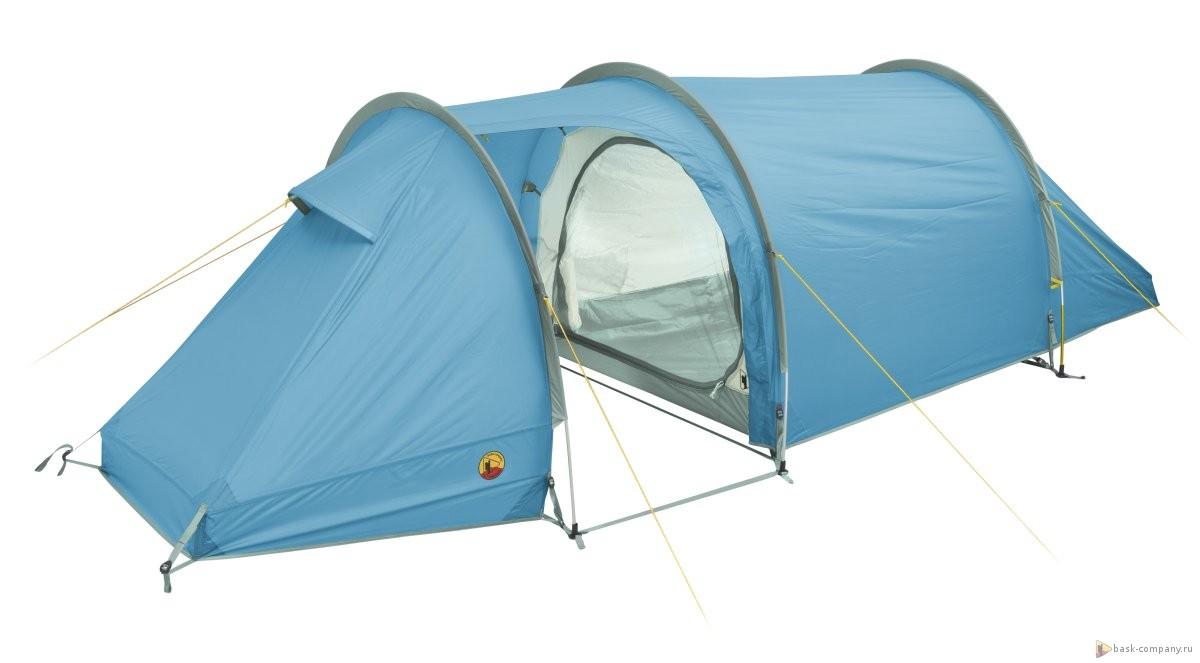 Палатка BASK REACH 2 3741Комфортная туннелеобразная палатка для прохождения маршрутов. Обводы палатки оптимизированы для снижения веса.<br><br>Вентиляционные окна: 2<br>Вес (в минимальной комплектации): 3.15<br>Вес (в полной комплектации): 3.4<br>Ветрозащитные юбки: Нет<br>Внутренние карманы и петельки для мелочей: Да<br>Водостойкость дна: 5000<br>Водостойкость тента: 3000<br>Диаметр стоек каркаса: 9.5<br>Количество входов: 1<br>Количество мест: 2<br>Количество оттяжек: 8<br>Количество стоек каркаса: 3<br>Материал внешнего тента: 75D Poly Taffeta 185T PU 3 000 мм, W/R<br>Материал внутренней палатки: 70D Poly RipStop 190T breathable  W/R<br>Материал дна: 70D Nylon Taffeta 210T PU 5000 мм, W/R<br>Материал каркаса: Yunan AL7001-T6<br>Назначение: трекинговая<br>Обработка ткани палатки: Водоотталкивающая пропитка (W/R), дышащая<br>Обработка ткани тента: PU (внутренняя поверхность покрыта полиуретаном).<br>Подвесная полка: Да<br>Проклейка швов: Да<br>Противо москитная сетка: Да<br>Размер в упакованом виде: 50х20<br>Способ установки: тент и внутренняя палатка устанавливаются одновременно<br>Тип входа: на молнии<br>Цвет: ЗЕЛЕНЫЙ