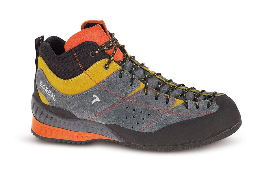 Кроссовки Boreal FLYERS MID B32115Высокие кроссовки для походов, несложного лазания, повседневного использования в городе.<br><br>Вес пары размера 7 UK: 875<br>Материал верха: Кожа 2 мм<br>Подошва: Zenith Dura®<br>Пол: Муж.<br>Рант для крепления &quot;кошек&quot;: Нет<br>Режим эксплуатации: Подходы к маршрутам, простое лазание, трейл, город<br>Система виброгашения: Да<br>Утеплитель: Нет<br>Цельнокроеный верх: Нет<br>Размер RU: 44<br>Цвет: СЕРЫЙ