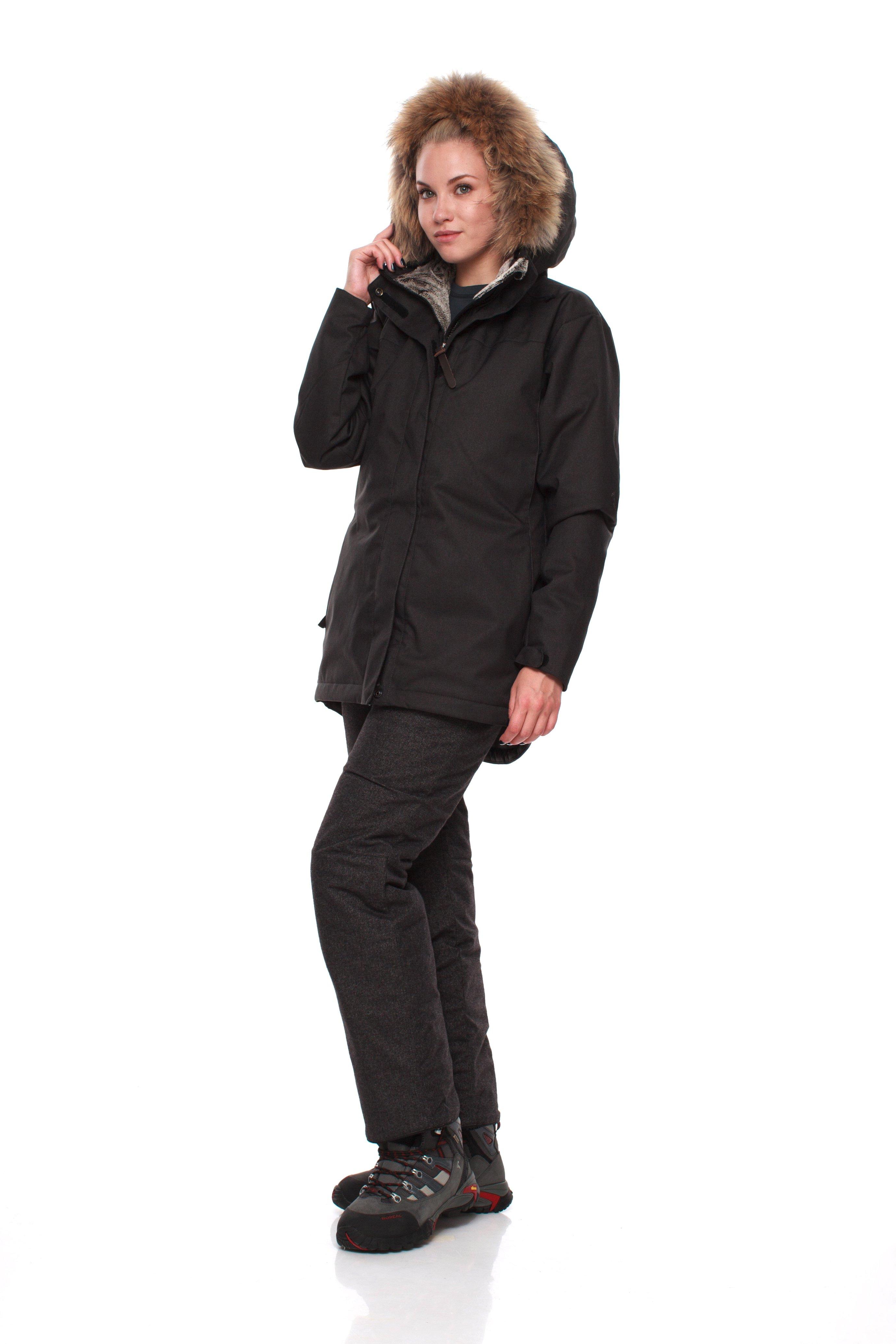 Куртка BASK AGIDEL 8203Тёплая зимняя женская куртка в стиле &amp;laquo;аляска&amp;raquo; подойдет для использования в городе и за его пределами.<br><br>Верхняя ткань: Advance® Alaska Soft Melange<br>Вес граммы: 1240<br>Ветро-влагозащитные свойства верхней ткани: Да<br>Ветрозащитная планка: Да<br>Ветрозащитная юбка: Нет<br>Влагозащитные молнии: Нет<br>Внутренние манжеты: Нет<br>Внутренняя ткань: Advance® Classic<br>Дублирующий центральную молнию клапан: Да<br>Защитный козырёк капюшона: Нет<br>Капюшон: несъемный<br>Карман для средств связи: Нет<br>Количество внешних карманов: 4<br>Количество внутренних карманов: 2<br>Мембрана: да<br>Объемный крой локтевой зоны: Нет<br>Отстёгивающиеся рукава: Нет<br>Пол: Жен.<br>Проклейка швов: Нет<br>Регулировка манжетов рукавов: Да<br>Регулировка низа: Да<br>Регулировка объёма капюшона: Да<br>Регулировка талии: Нет<br>Регулируемые вентиляционные отверстия: Нет<br>Световозвращающая лента: Нет<br>Температурный режим: -15<br>Технология Thermal Welding: Нет<br>Тип молнии: двухзамковая<br>Тип утеплителя: синтетический<br>Усиление контактных зон: Нет<br>Утеплитель: Shelter® Sport<br>Размер INT: XS<br>Цвет: ЧЕРНЫЙ